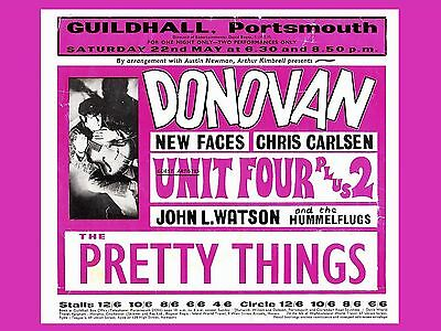 """Donovan / Pretty Things Portsmouth 16"""" x 12"""" Photo Repro Concert Poster"""