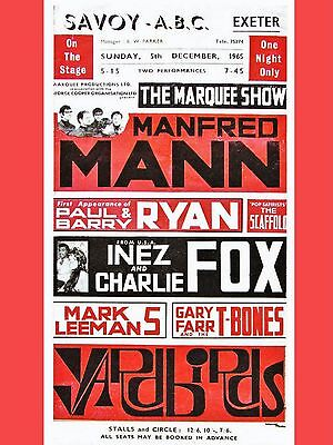 "Manfred Mann / Yardbirds ABC Exeter 16"" x 12"" Photo Repro Concert Poster"