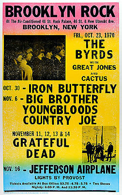 "The Byrds Brooklyn 1970 16"" x 12"" Photo Repro Concert Poster"