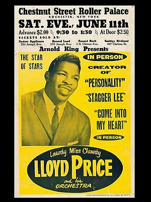 "LLoyd Price Rochester 16"" x 12"" Photo Repro Concert Poster"