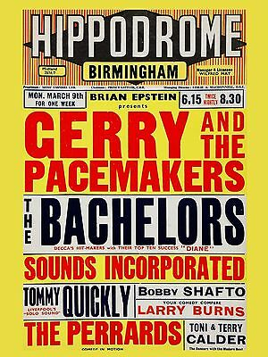 """Gerry and the Pacemakers Birmingham 16"""" x 12"""" Photo Repro Concert Poster"""