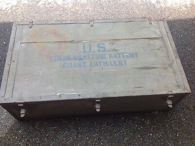 Vintage WW2 US Military Coast Artillery Wooden Box/Chest
