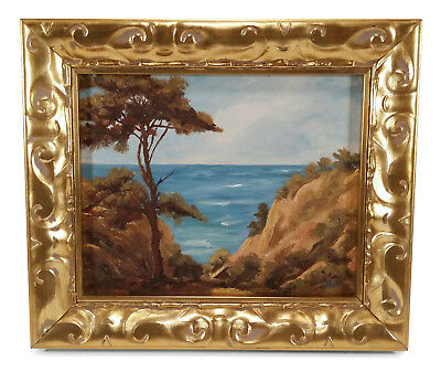 Framed Vintage California Art Coast Landscape Seascape Oil Painting Trees Cliffs