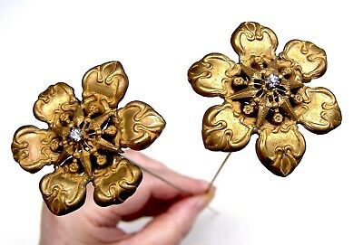 Vintage hatpins matched pair long shafted hat pin Victorian Edwardian (ACD)