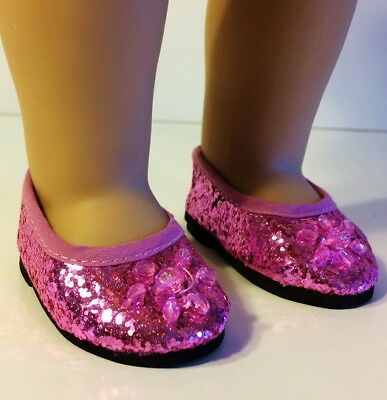 "Pink Princess Shoes for 18"" American Girl Doll, fits 18 inch Dolls, Journey Girl"