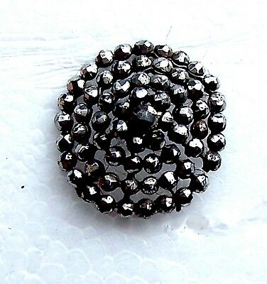 Vintage hatpin cut steel long shafted hat pin Victorian Edwardian (ACT)