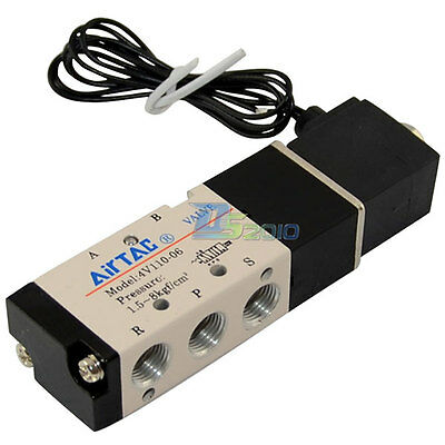 "12V 1/8"" DC 5way 2 position Pneumatic Electric Solenoid Valve BSPT Air Alu Alloy"
