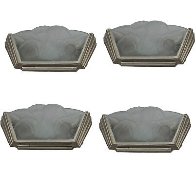 Set of Four Art Deco Degue Frosted Glass Sconces