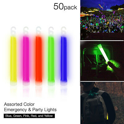 """50 Thick 6"""" Glow Sticks Fat Party Necklaces Light Assorted Lanyard Favors Neon"""