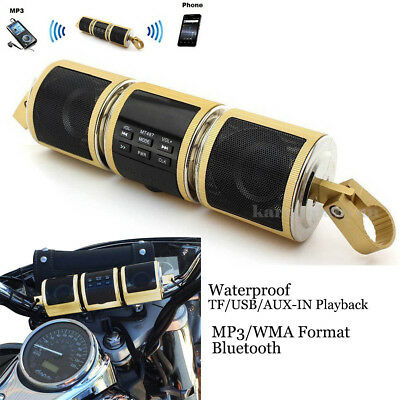 Motorcycle Waterproof Bluetooth MP3 FM Audio Radio Sound  System Stereo Speakers