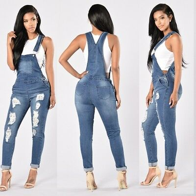 Summer Women Straps Jumpsuit Jeans Hole Bib Pants Overalls Rompers Trousers