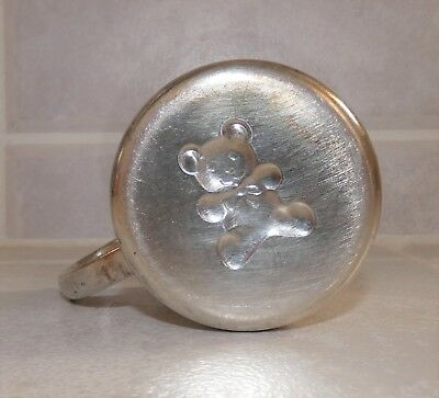 Vintage LUNT Sterling Silver Baby Cup Teddy Bear Bottom C 212 No Name Engraved