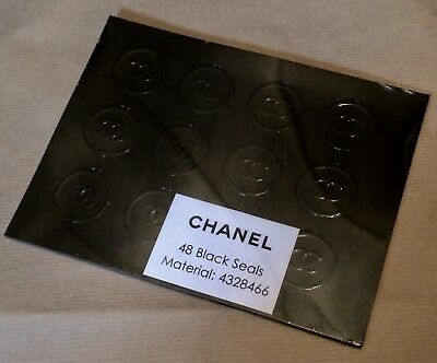 48 Chanel Official Black Seals For Bags/wrapping Paper - *last Pack*