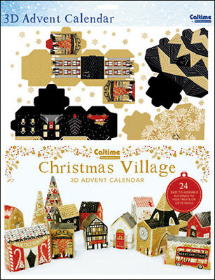 Traditional B W Village Advent Calendar Caltime 335 x 473 mm - build a village