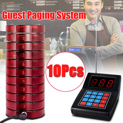 Restaurant Wireless Auto Shop Paging Guest Queuing System +10 Call Coaster Pager