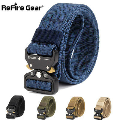 REFIRE GEAR MENS Quick Release Military Tactical Belt Army Webbing Nylon  Belts