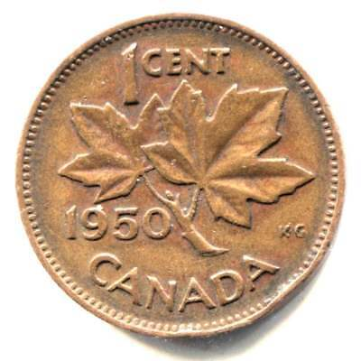 1950 Canadian 1 Cent Maple Leaf Penny Coin - Canada - King George VI