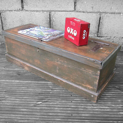 Rustic Old Pine Industrial Tools Chest Box 1940s Storage Coffee Table Trunk