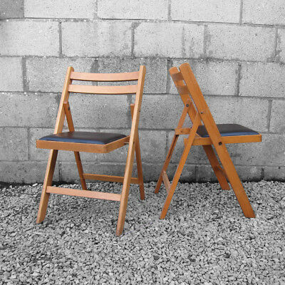 Mid Century Folding Chair Vintage Wooden 1960s Dining Seat Wedding Event Party