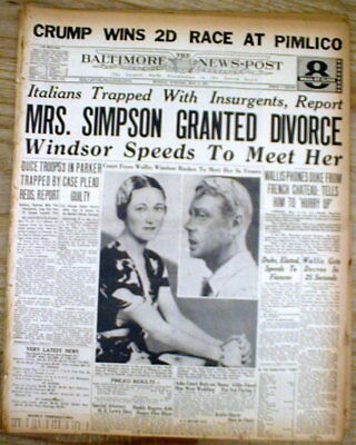 3 1937 headline newspapers British KING EDWARD VIII free to MARRY woman he loves
