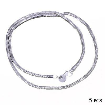 Venta al por mayor de plata maciza 925 collar 5pcs / lot 1mm Snake Chain hot BF