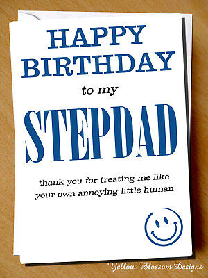 Funny Comical Birthday Greetings Card Step Dad Thank You Stepdad