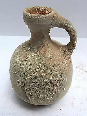 Biblical Ancient Terracotta Holy Land Herodian Pottery Jug Clay Fish & Loaves R