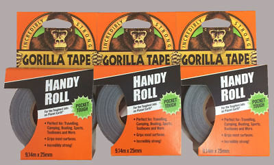 3 x Gorilla Tape Handy Roll To Go 25mm x 9m Tape Strong Duct Tape Gorilla Glue