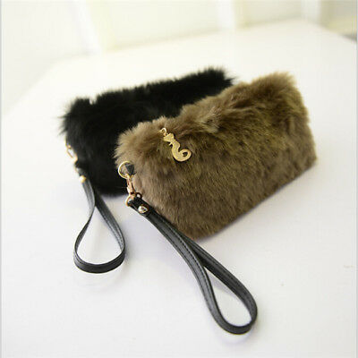 Women Faux Fur Handbag Wallet Wristlet Shoulder Bag Tote Fluffy Clutch Purse B