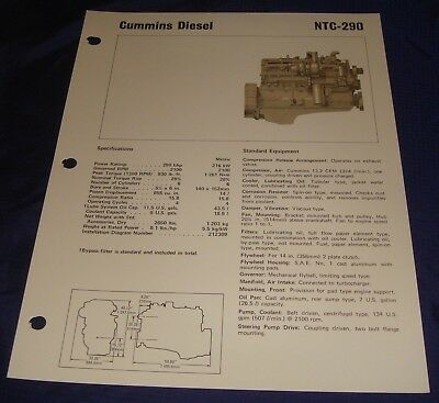 BR356 Cummins Diesel Engine NTC-290 Specification Sheet