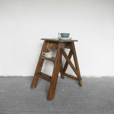 Vintage Ladders Steps Rustic 1940s Farmhouse Bedside Table Old Pine Wood