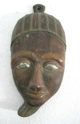 Wooden Egyptian Mask , Copper And Brass Decoration  .