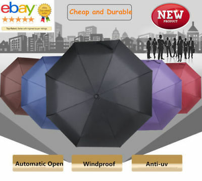 Automatic Travel Umbrella Windproof Auto Open Close 3 Folding Sun Rain Umbrella