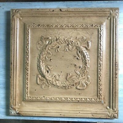 1890's  23 x 23 Antique Tin Ceiling Tile Buckskin Brown Wrapped Wall Art 447-18