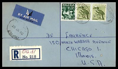 Union Secondary School Enugu Jan 20 1962 Registered Air Mail Ad Cover To Chicago