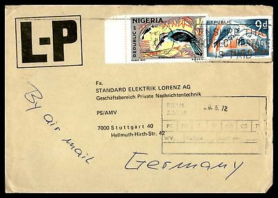 Lp Lagos May 3 1972 Postage Is Paid Slogan Cancel On Air Mail Cover To Stuttgart