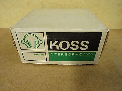 New & Boxed Vintage Headphone Kos Stereophones Pro-4A + Catalog