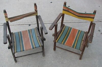2 Vintage 40S-50S Striped Canvas Wood Frame Children's Folding Deck Chairs