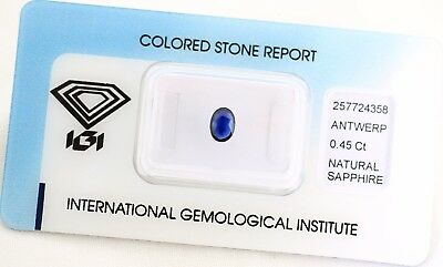 Natural Sapphire 0,45ct Dark Blue Oval Mixed Cut IGI Certificat sealed