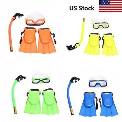 US 3pc/Set Kids Glass Swimming Swim Diving Scuba Anti-Fog Goggles Mask Snorkel