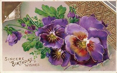 Large Pansy Flowers with Gold Banner & Accents; Birthday Vintage Postcard