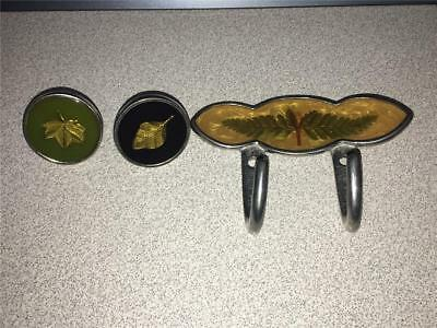~Vintage Accessory Exchange Metal Leaf Inlay Drawer Pulls & Hook MADE IN THE USA