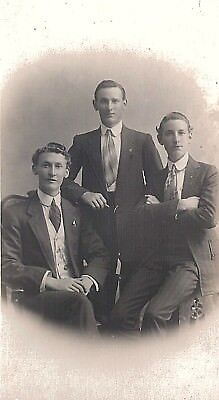 Early Real Photo Studio Postcard - Family Group Brothers Queensland Australia