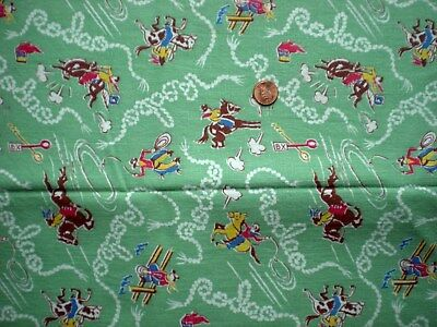 COWBOYS Uncut NOVELTY Vtg FEEDSACK Quilt Sewing Doll Clothes Craft Cotton GREEN