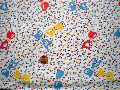 BOWS & CHERRIES Full Vtg FEEDSACK Quilt Sewing DollClothes Craft Cotton Fabric
