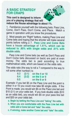 Basic Strategy Card for Craps Increase Your Chances To Win *