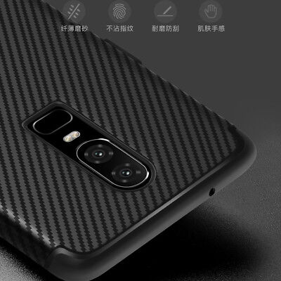 For OnePlus 6, Luxury Carbon Fiber Business Soft Rubber Silicone Full Cover Case