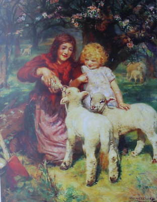 Mother Child bottle feeding Lambs by Arthur John Elsley vintage art