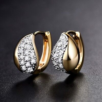 Stylish Women Sapphire Crystal Gold Platinum Filled Small Hoop Earrings Jewelry