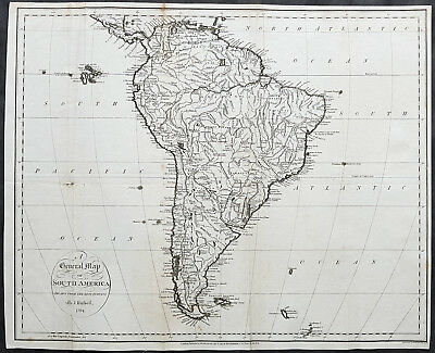 1794 John Russell Large Antique Map of South America